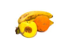 Rotten fruits bananas Orange Apple isolated on white closeup Royalty Free Stock Photography