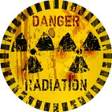 Rotten radiation warning sign, Royalty Free Stock Images