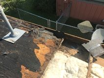Rotten roof and rafters after leak. Rotten roof and rafters after long term leak stock images