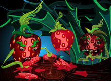 Rotten Strawberries in a Shrub. Made out of chocolate branches Royalty Free Illustration