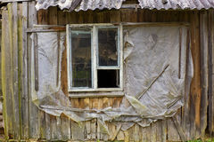 Rotten window of the European slums Royalty Free Stock Images