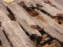 Rotten wooden spool Stock Images