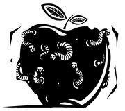 Rotten Wormy Apple. Woodcut style expressionistic image of a rotten apple riddled with worms with the faces of men Stock Photography