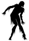 Rotten zombie silhouette. Illustration zombie in ragged clothes Royalty Free Stock Images