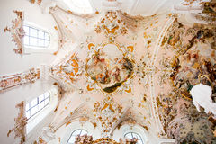 ROTTENBUCH, GERMANY - JUNE 18: Ceiling of the Rottenbuch Abbey church (Kloster Rottenbuch) Royalty Free Stock Images