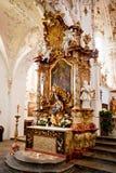 ROTTENBUCH TYSKLAND - JUNI 18: Inre av den Rottenbuch abbotsklosterkyrkan (Kloster Rottenbuch) Royaltyfri Bild