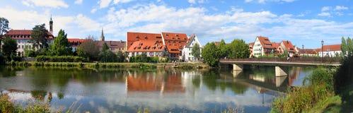 Rottenburg morgens Neckar, Panorama Stockbilder