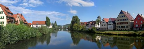 Rottenburg morgens Neckar, Panorama Lizenzfreie Stockfotografie