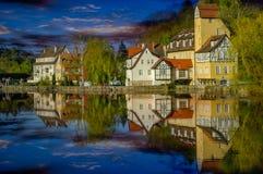 Rottenburg por el río Neckar fotografía de archivo libre de regalías