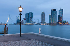 Rotterda with a street light in the evening Royalty Free Stock Image