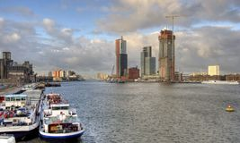 Rotterdam. Urban development along the river Meuse Stock Image