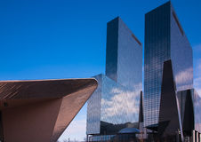 Rotterdam architecture. Architecture of the central train station of rotterdam with high office buildings Stock Photo