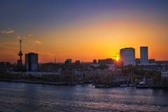 Rotterdam au crépuscule Images libres de droits