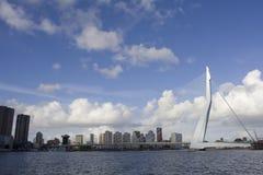 Rotterdam bridge Erasmusbrug. Skyline of Rotterdam with Erasmusbrug Stock Photo