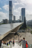 Rotterdam Central Station in the background the towers of the building Delftse Poort. Stock Images