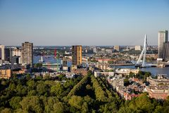 Rotterdam Netherlands cityscape and Erasmus bridge. Aerial view from Euromast tower, sunny day. Rotterdam city aerial view. Cityscape, river Maas and Erasmus stock photography