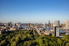 Rotterdam Netherlands cityscape and Erasmus bridge. Aerial view from Euromast tower, sunny day. Rotterdam city aerial view. Cityscape, river Maas and Erasmus royalty free stock photography