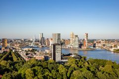 Rotterdam Netherlands cityscape and Erasmus bridge. Aerial view from Euromast tower, sunny day. Rotterdam city aerial view. Cityscape, river Maas and Erasmus royalty free stock image