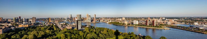 Rotterdam Netherlands cityscape and Erasmus bridge. Panoramic view from Euromast tower, sunny day. Rotterdam city aerial view. Panorama of Rotterdam city, river stock images