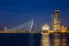 Rotterdam City centre. Cruise ship in Rotterdam City Center royalty free stock image