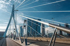 Rotterdam city cityscape with Erasmus bridge, South Holland, Netherlands. Stock Images