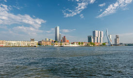 Rotterdam city cityscape skyline with Erasmus bridge and river. South Holland, Netherlands. Stock Photo
