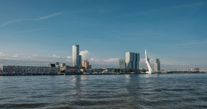 Rotterdam city cityscape skyline with Erasmus bridge and river. South Holland, Netherlands. Royalty Free Stock Photos