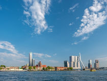 Rotterdam city cityscape skyline with Erasmus bridge and river. South Holland, Netherlands. Royalty Free Stock Photography