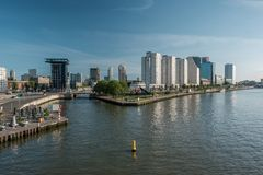 Rotterdam city cityscape skyline Nieuwe Maas Rhine river in front, South Holland, Netherlands. Royalty Free Stock Images