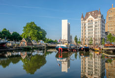 Rotterdam city cityscape skyline with, Oude Haven, Netherlands. Royalty Free Stock Photo