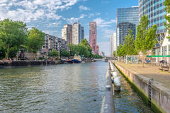 Rotterdam city cityscape skyline with water canal in front, South Holland, Netherlands. Royalty Free Stock Photos