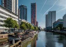 Rotterdam city cityscape skyline with water canal in front, South Holland, Netherlands. Stock Images