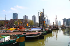 Rotterdam city harbour boats - Netherlands Stock Photo