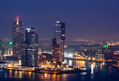 Rotterdam city at night. Rotterdam city skyline at night. The Netherlands Royalty Free Stock Photography