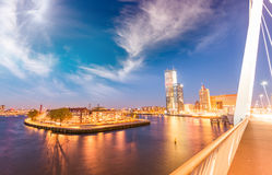 Rotterdam. City skyline from Erasmus Bridge Royalty Free Stock Image