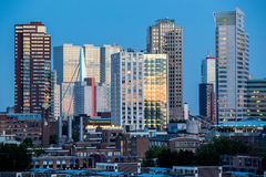 Rotterdam City Skyline. The modern city skyline of Rotterdam in the evening during blue hour Stock Photos