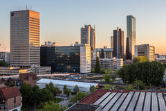 Rotterdam City Skyline. The modern city skyline of Rotterdam in the evening hours Royalty Free Stock Photo