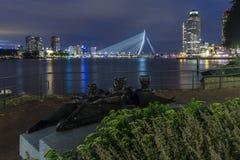 Rotterdam city skyline at night Stock Photos