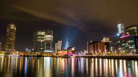 Rotterdam city skyline nightscape Stock Photo