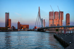 Rotterdam City Skyline at Sunset Royalty Free Stock Photography