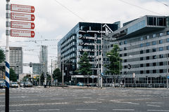 Rotterdam cityscape and car traffic in a crossroads. Stock Photo