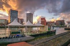 Rotterdam cityscape at evening Stock Photo