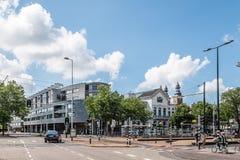 Rotterdam cityscape om den soliga dagen av sommar Arkivfoto
