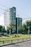 Rotterdam cityscape with tramway and park Royalty Free Stock Photo