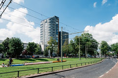 Rotterdam cityscape with tramway and park. Rottedam, The Netherlands - August 6, 2016: Rotterdam cityscape with tramway and park. Rotterdam is one of the largest Royalty Free Stock Photos