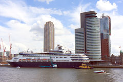 Rotterdam Cruise Ship. Cruise Ship Loading Tourist at the Live Museum of Architecture since it was erase by the bombs of the Second World War, Rotterdam royalty free stock images