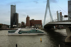 Rotterdam docks and transport boat Royalty Free Stock Image
