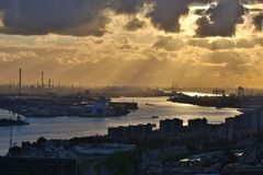Rotterdam Dusk Panorma Royalty Free Stock Photography