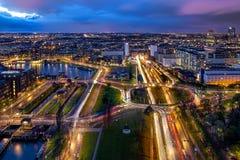 Rotterdam en la noche Fotos de archivo libres de regalías