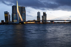 Rotterdam - Erasmus bridge by night  Royalty Free Stock Photography